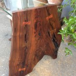 End Table (Side) - Walnut, Walnut Burl, Natural Stone, Glass