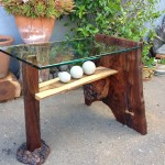 End Table (front) - Walnut, Walnut Burl, Natural Stone, Glass
