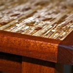 End tables closeup - Kirei (recycled sorghum stalks), Mahogany