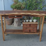 Hall Table-Walnut, Eucalyptus, Bubinga,  Natural Beach Rock