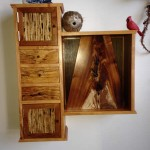 Wall Cabinet with Clock - Cypress, Black Acacia, Spalted Birch, Kirei, Cherry